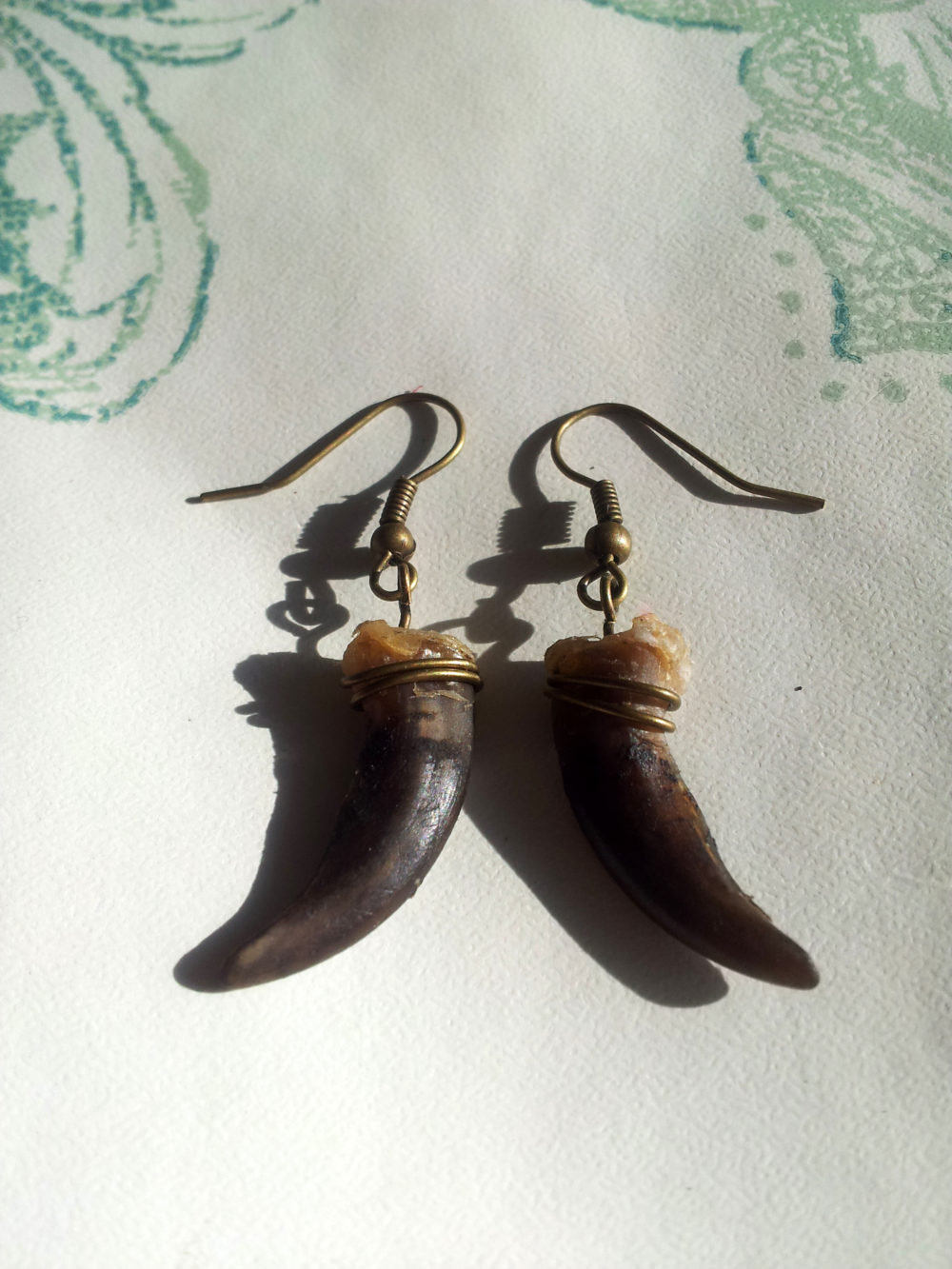 Brass Badger Claw Earrings