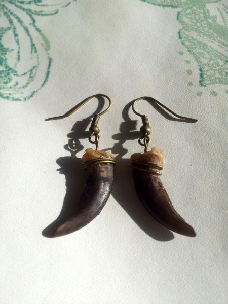 Brass Badger Claw Earrings