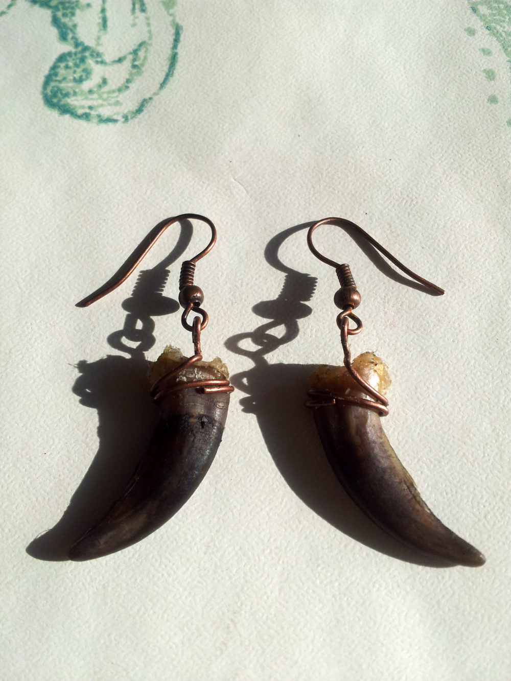 Copper Badger Claw Earrings